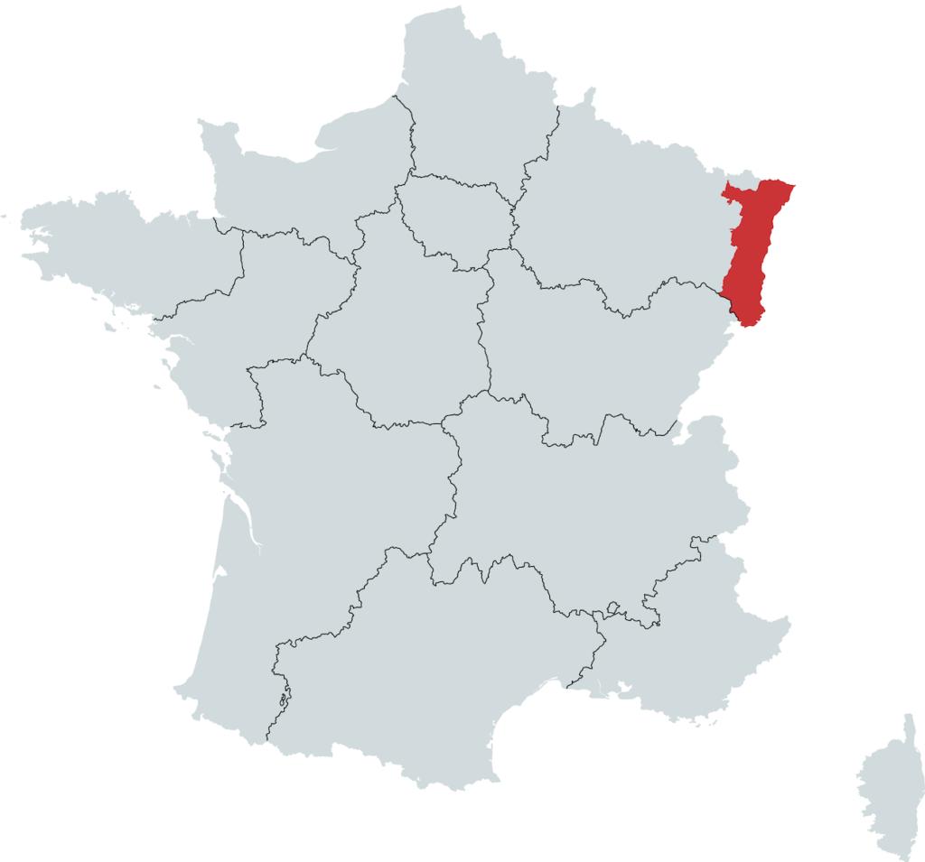Alsace Vinregion Kort