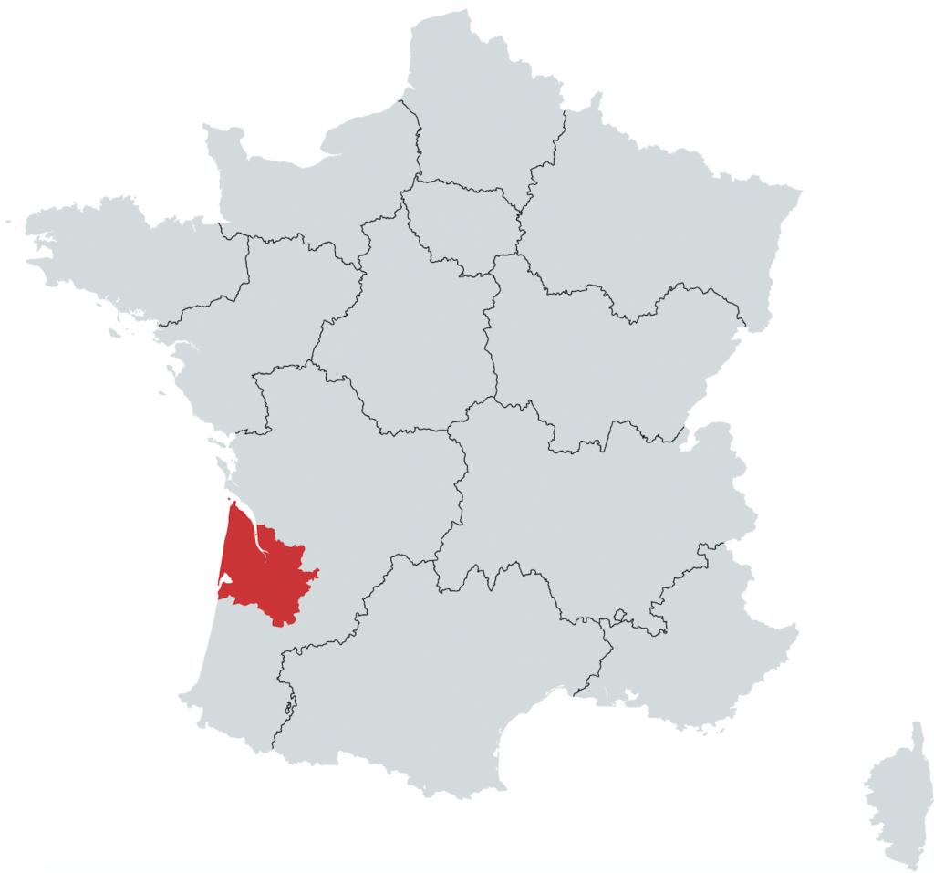 Bordeaux Vinregion Kort