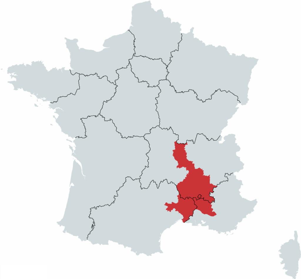 Rhone Vinregion Kort