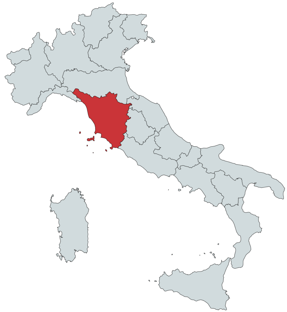 Toscana Vinregion Kort